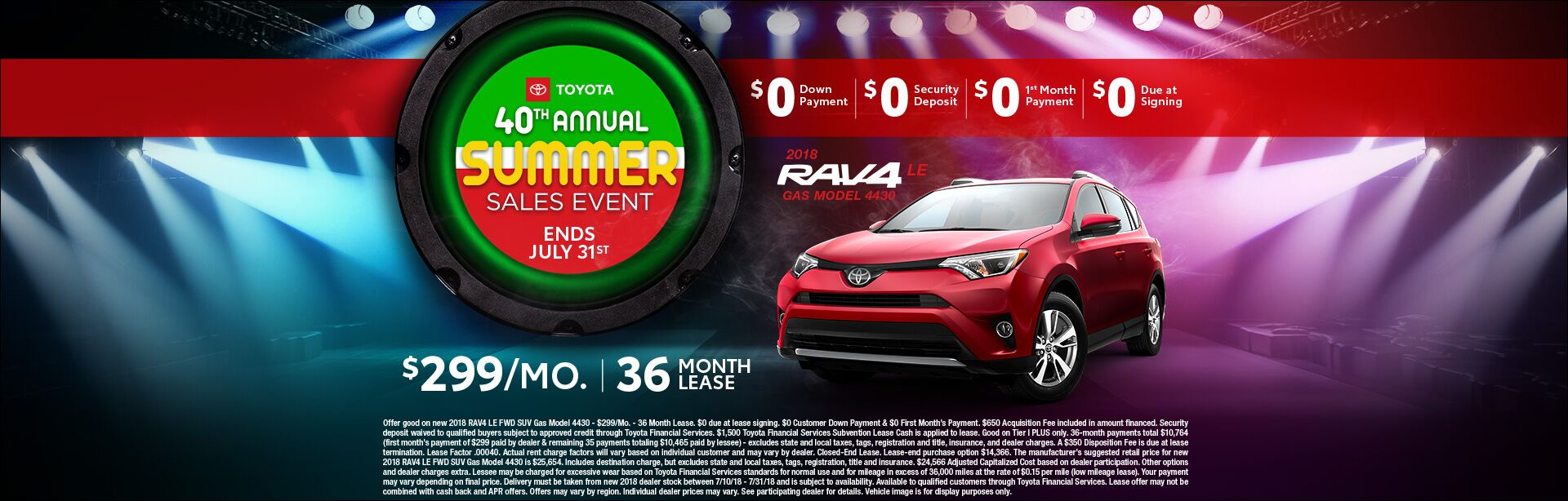 Toyota Summer Sales Event Rav4 Lease