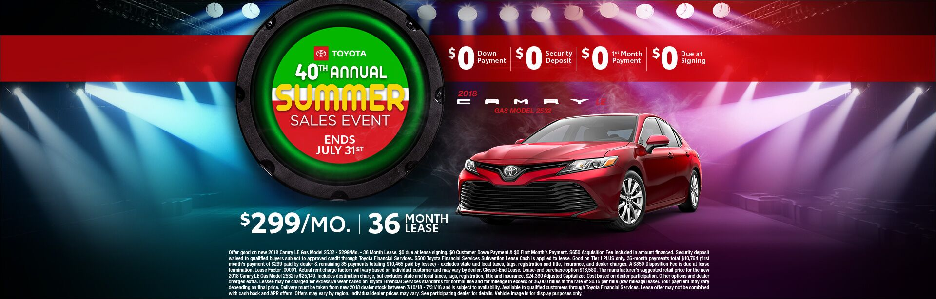Toyota Summer Sales Event Camry Lease