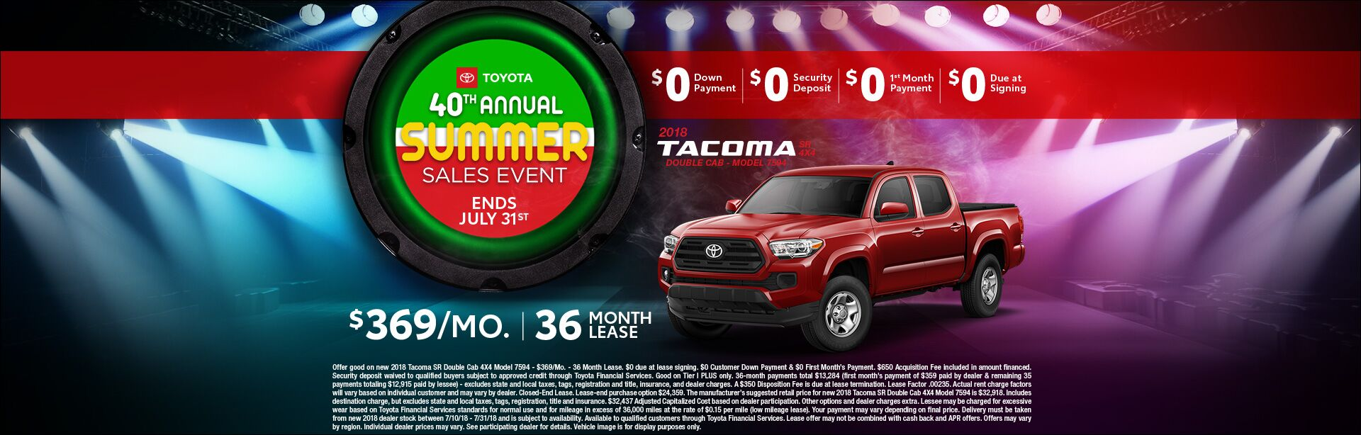 Toyota Summer Sales Event Tacoma Lease
