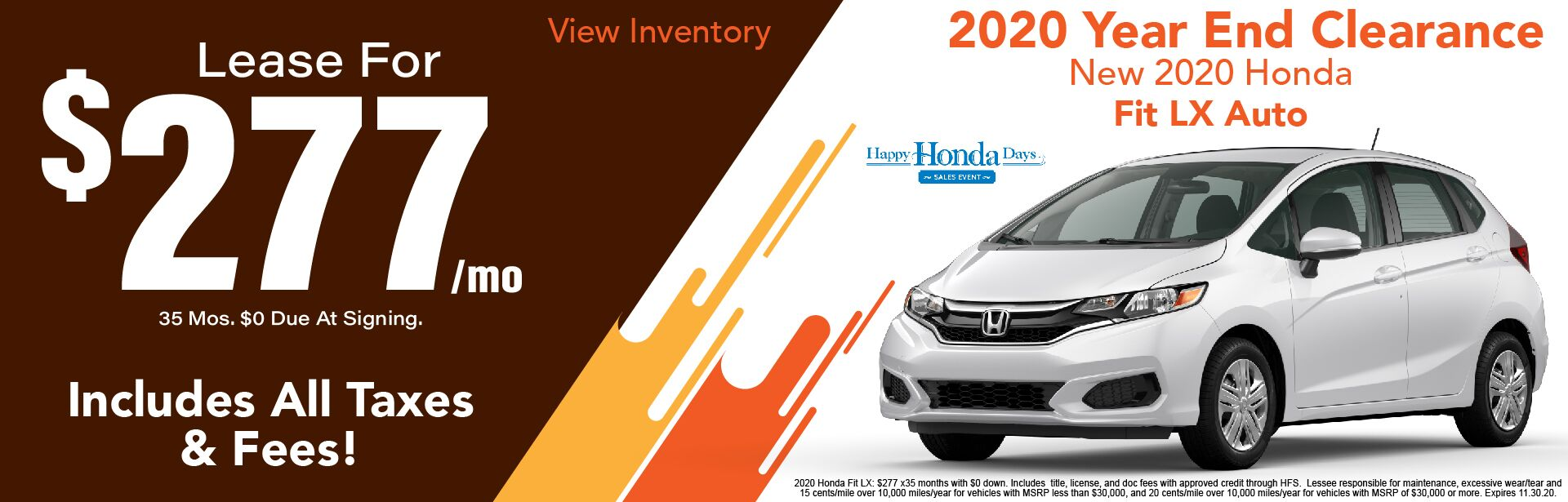 2020 Honda Fit LX Lease