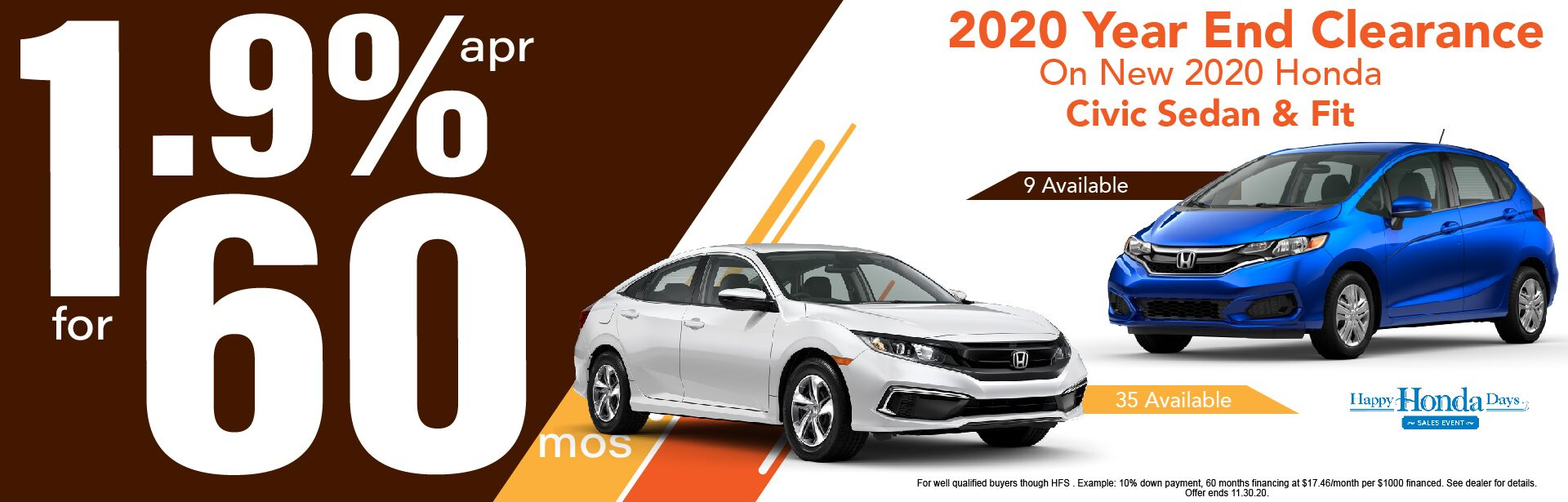 Honda Year End Clearance Event: 1.9% APR for 60 Mos.