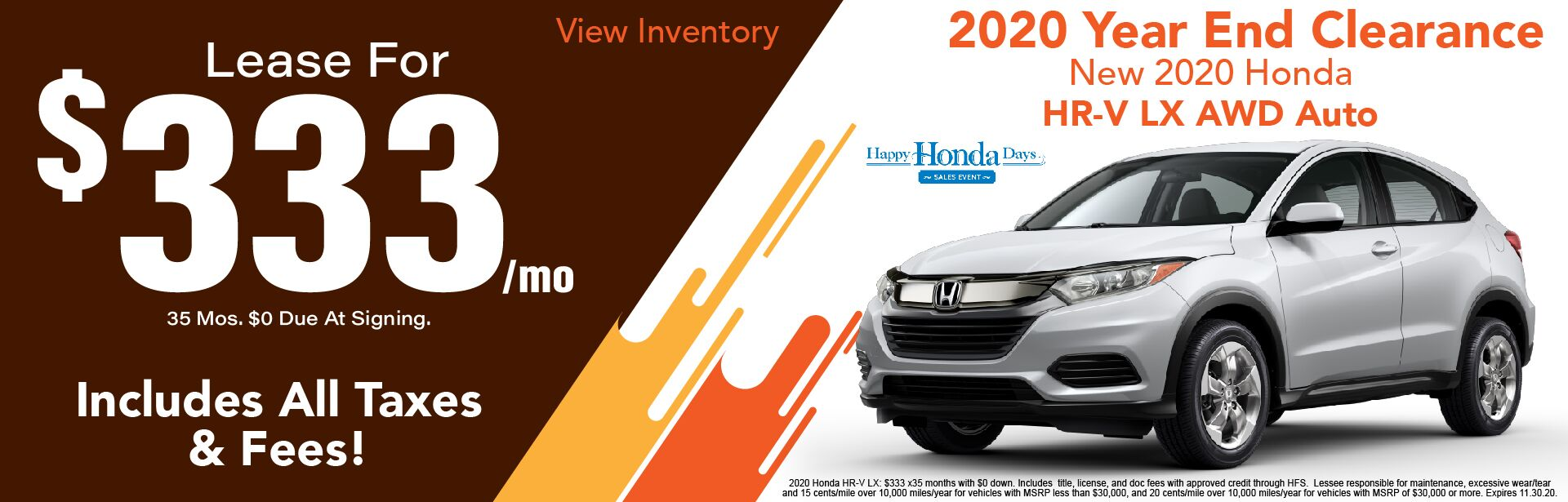 2020 HR-V  LX $333/ Month Lease