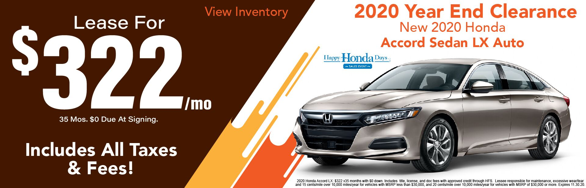 2020 Honda Accord LX $322/Month Lease