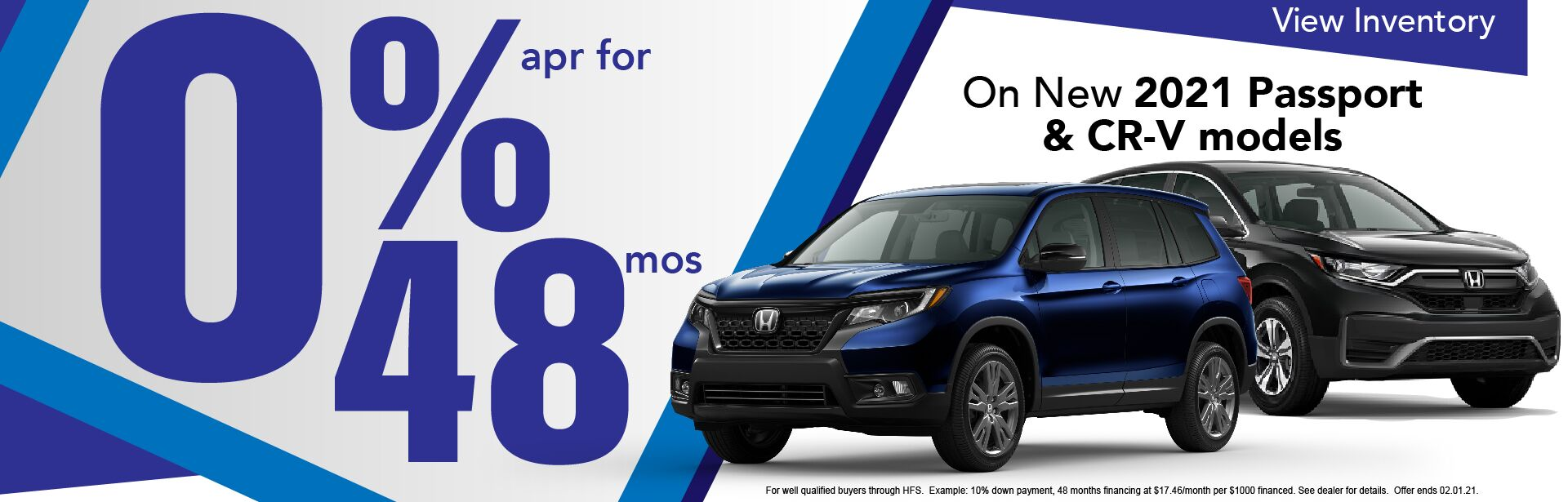 0% APR x 48 Months on 2021 Honda CR-V & Pilot