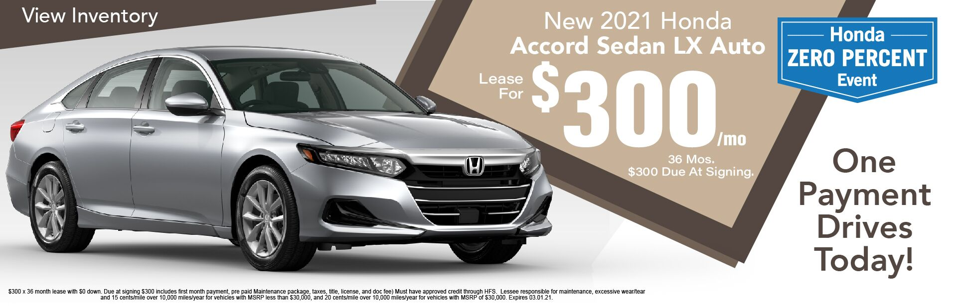 2021 Honda Accord LX Auto $300/Month Lease x 36 Months