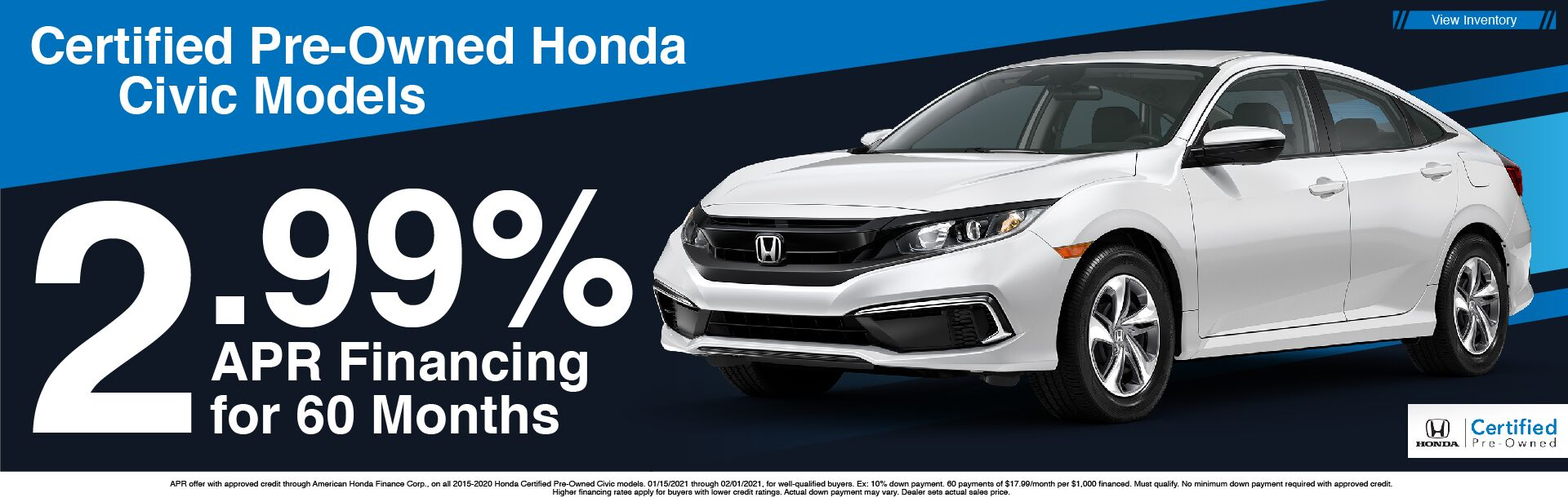 Certified Pre-Owned Civic 2.99% APR x60
