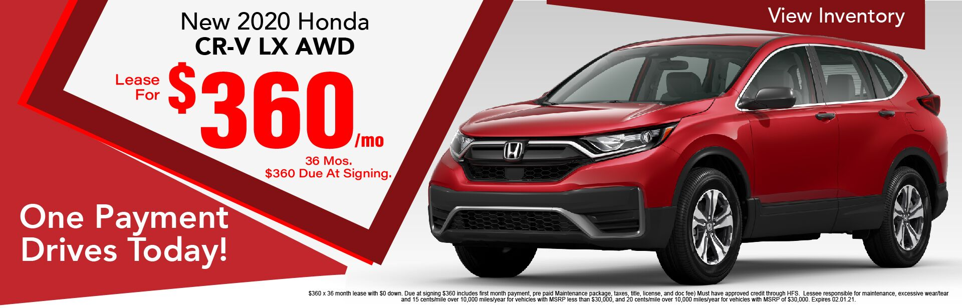 2020 Honda CR-V LX AWD Lease $360 / Month x 36 Months