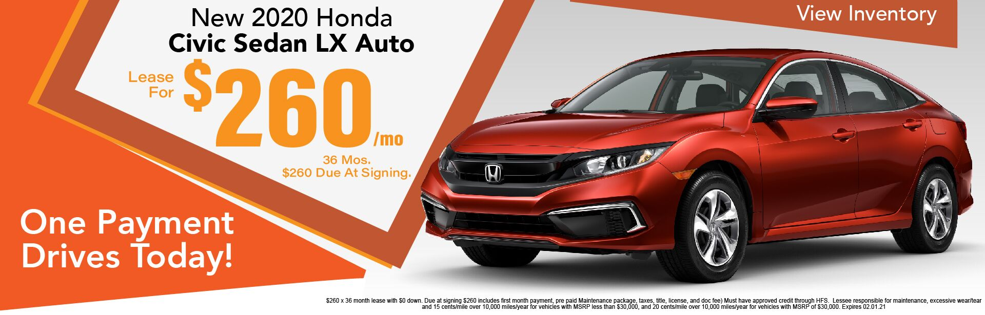 2020 Honda Civic Sedan LX $260/Month Leased x 36 Months