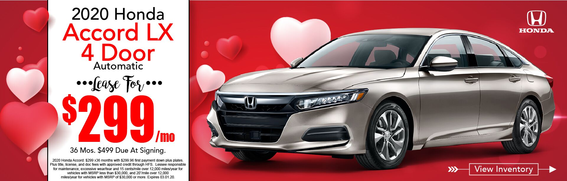 2019 Honda Accord LX Lease for $339
