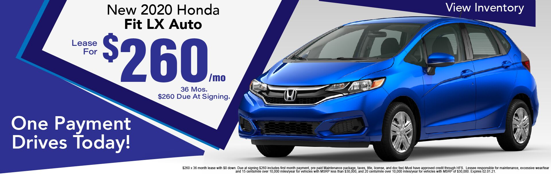 2020 Honda Fit LX Lease for $260/Month x 36 Months