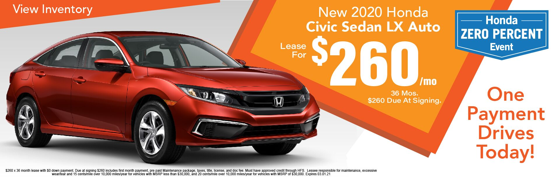 2020 Honda Civic Sedan LX Auto $260/Month Leased x 36 Months