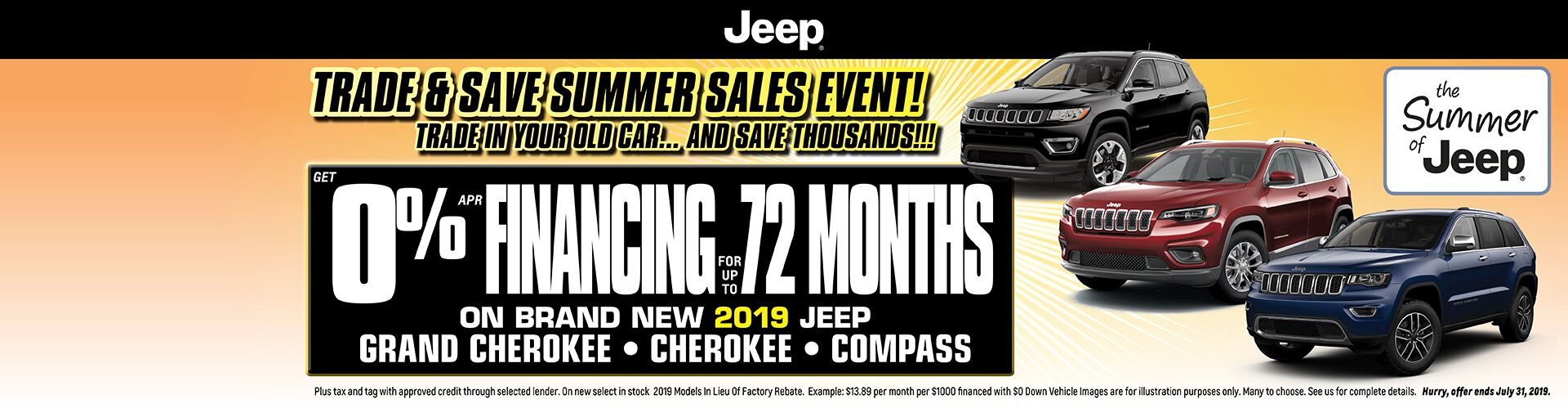 Just Announced - 0% Financing Available on Jeep Compass, Cherokees & Grand Cherokees!