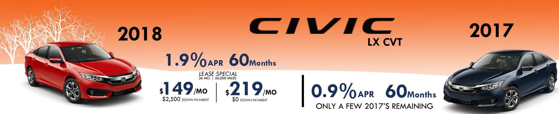 2018 Civic January Special 1.9% for 60 Months