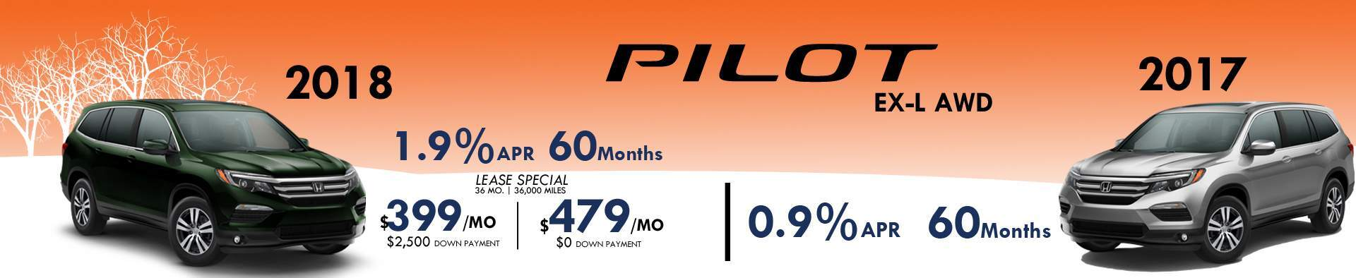 2018 Pilot January Specials 1.9% for 60 months