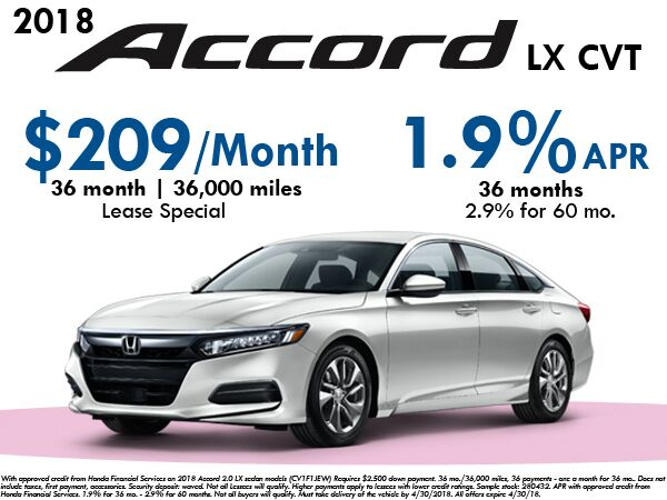 Accord Lease Special - $209/mo for 36 months - $2,500 Down