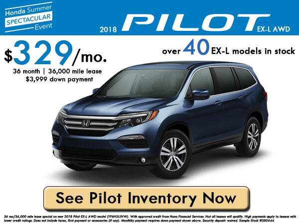 2018 Pilot EX-L AWD Lease: $329/month