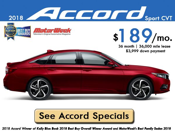 2018 Accord Sport CVT Lease: $189/month