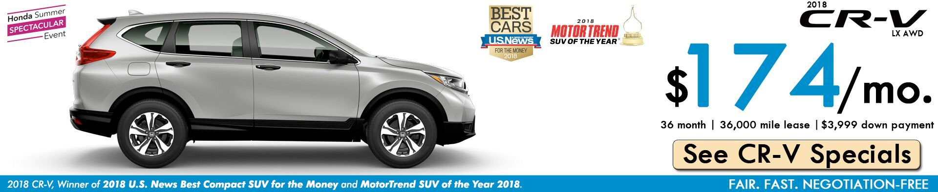 2018 CR-V LX Lease: $174/month