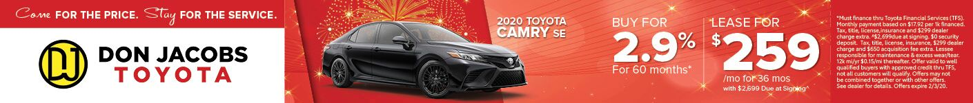 January 2020 Camry SRP Banner