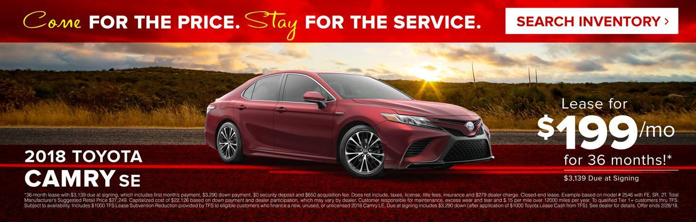 February 2018 Camry SE Lease