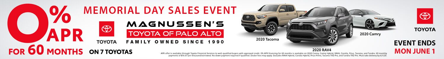 0% Apr Financing for 60 months Toyota Dealer SF Bay Area