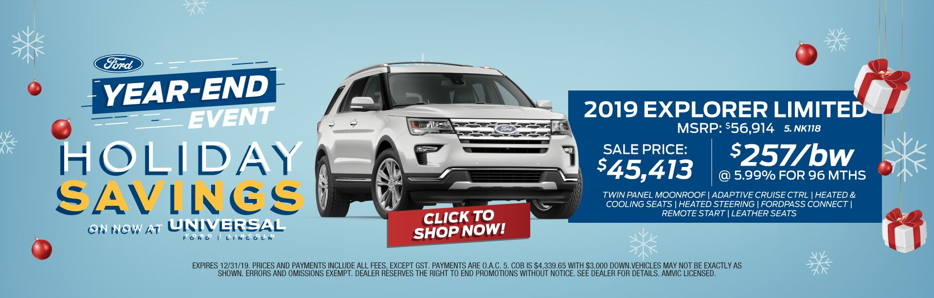 Year-End Event Holiday Savings - Explorer