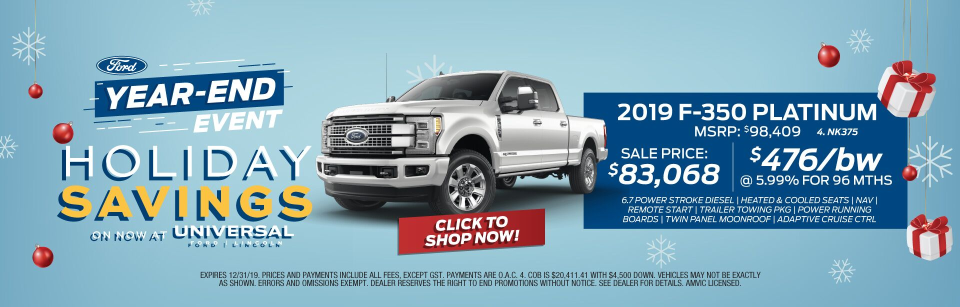 Year-End Event Holiday Savings - F350 Platinum