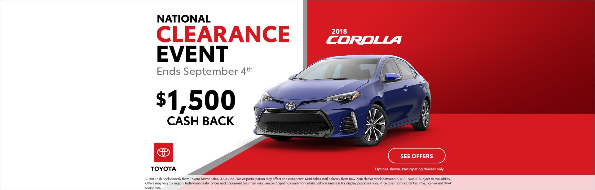 18 Corolla Cash back