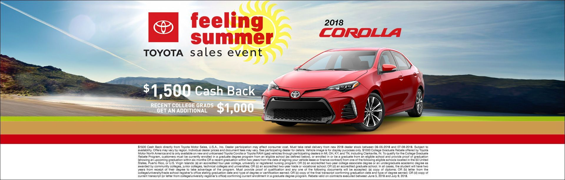 Feeling Summer Corolla Cash Back