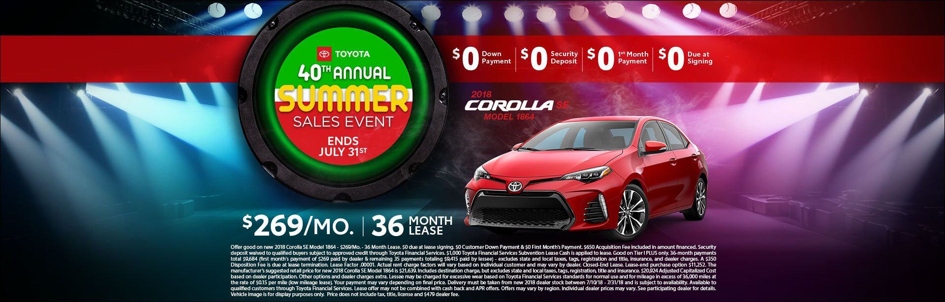 Toyota Corolla - Summer Sales Event