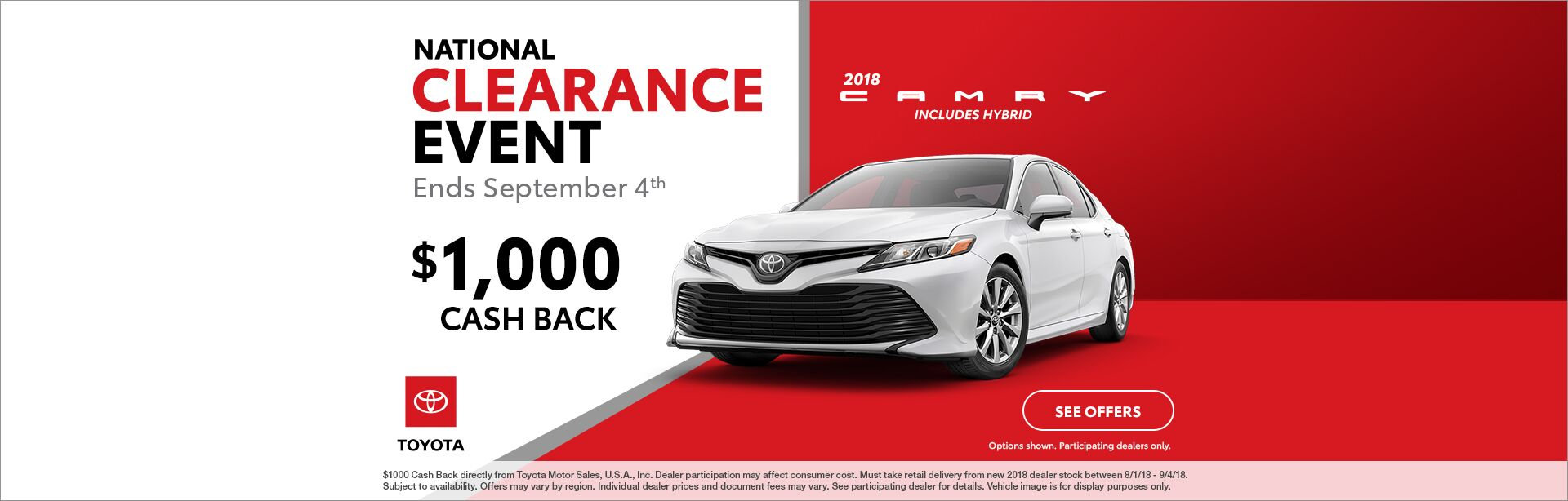 Camry Cash Back National Clearance Event 2018