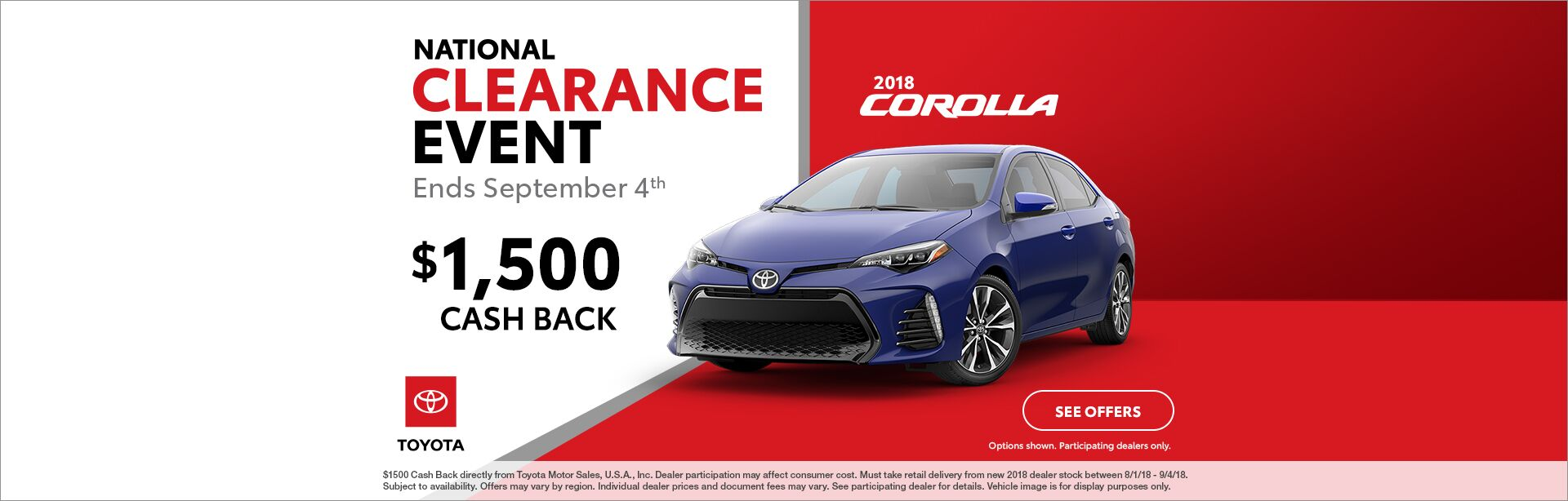Corolla Cash Back National Clearance Event 2018