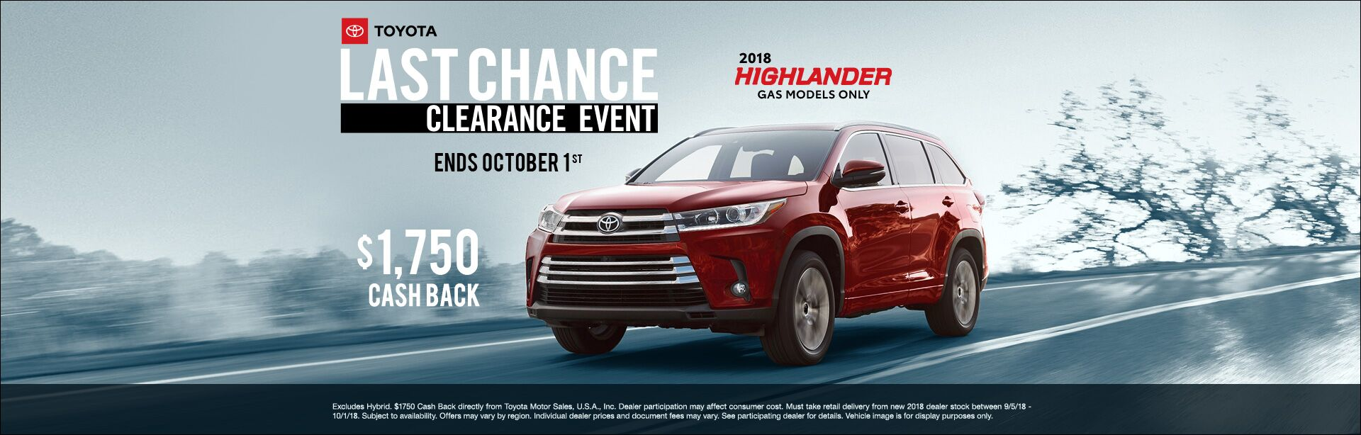 Highlander Cash Back Sept 2018