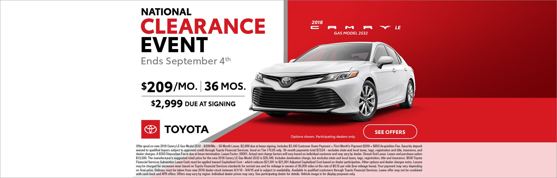 Camry Lease National Clearance Event 2018