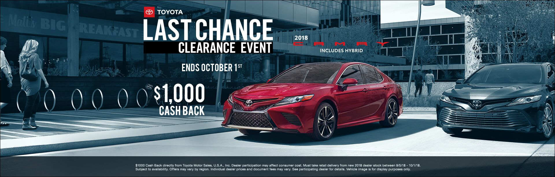 Camry Cash Back Sept 2018