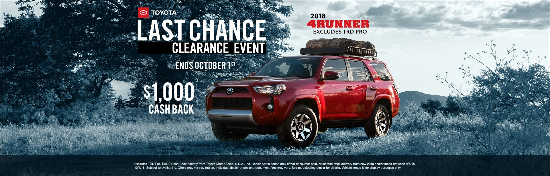 4Runner Cash Back Sept 2018