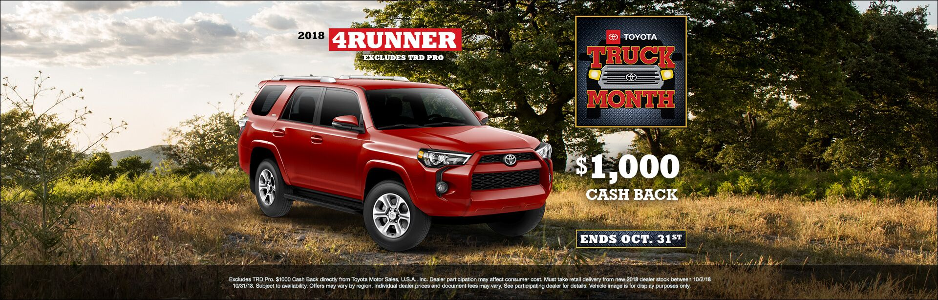 4Runner Cash Back Oct 2018