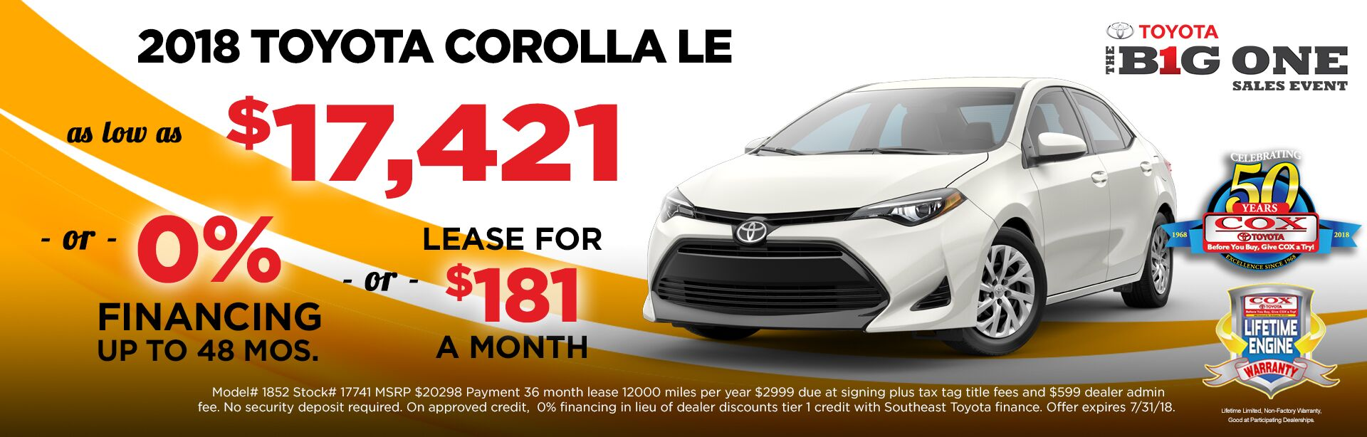 Corolla July Special Offer