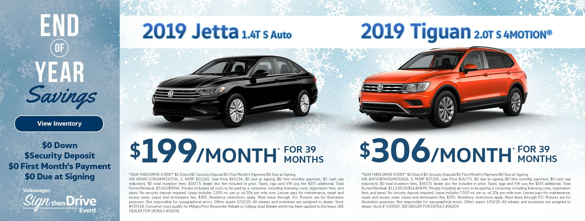 Jetta & Tiguan Dec Leases
