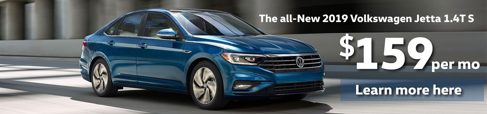 Lease the all-New 2019 VW Jetta 1.4T S for $159 per month!