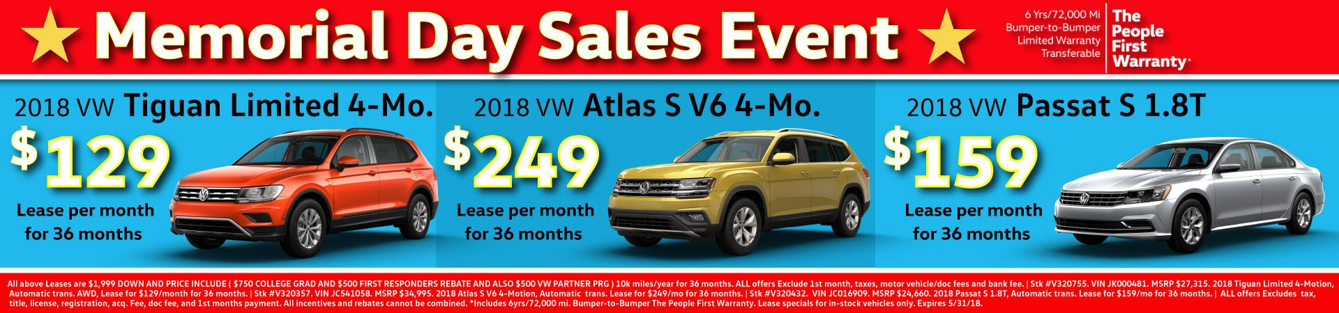Memorial Day Sales Event at Douglas VW in Summit!