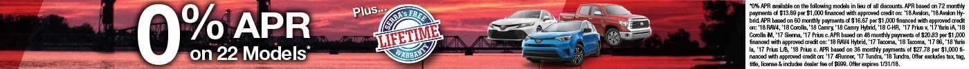 January 18 New Toyota Promo