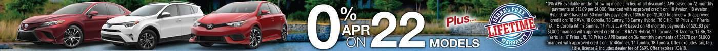 0% APR on 22 Models