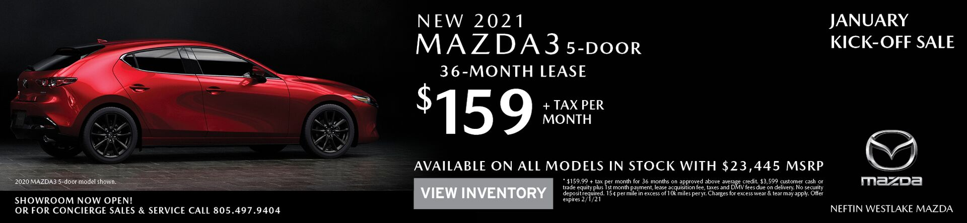 January '21 Mazda3 HB Lease Offer