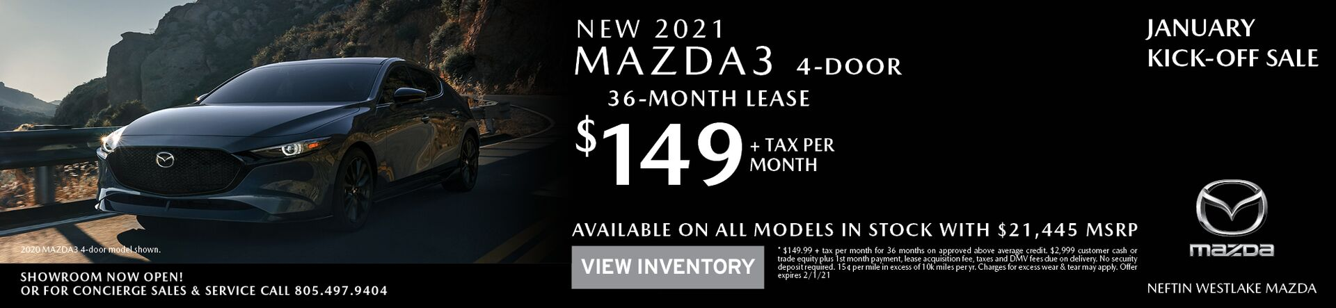 January '21 Mazda3 Sedan Lease Offer