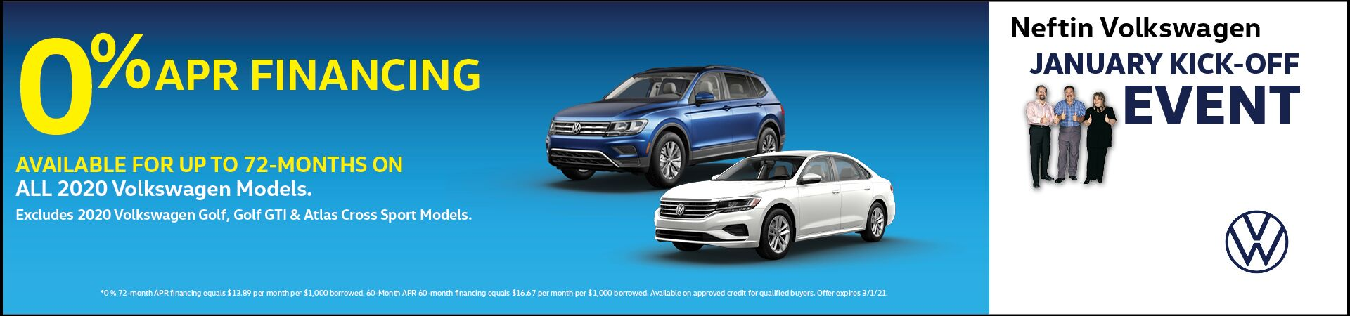 January '21 0% APR Financing Offer
