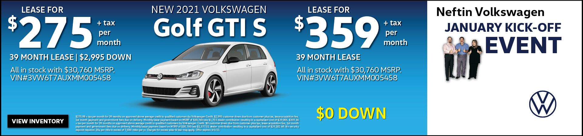 January '21 Golf GTI Lease Offer