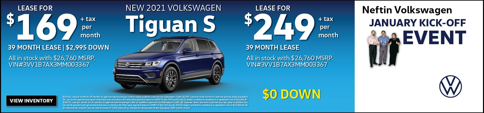 January '21 Tiguan S Lease Offer