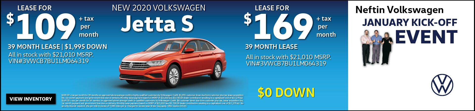 January '21 Jetta S Lease Offer
