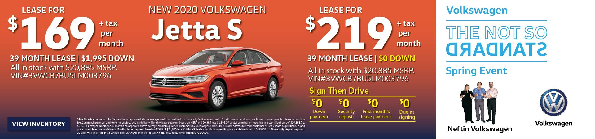 March/April '20 Jetta Lease Offer